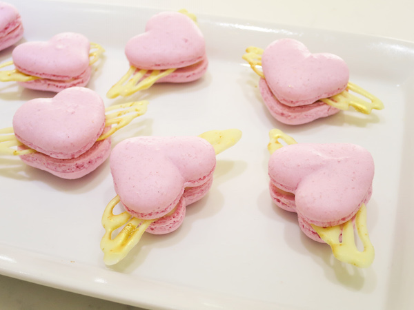 cranberry heart macarons with wings