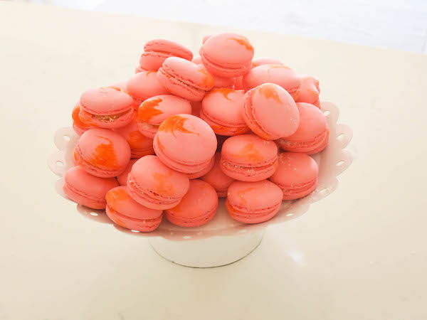 Peaches and coconut macarons
