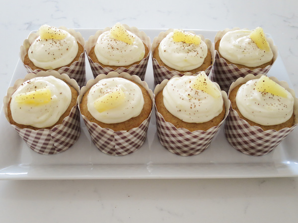 Spiced cinnamon cupcakes with pineapple cream cheese frosting