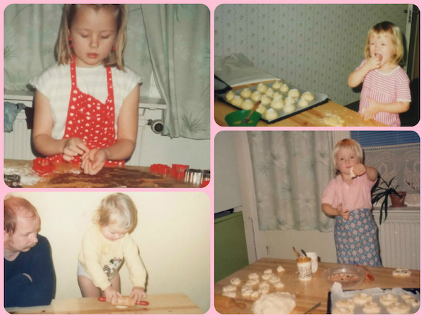 Childhood baking, baking in pink