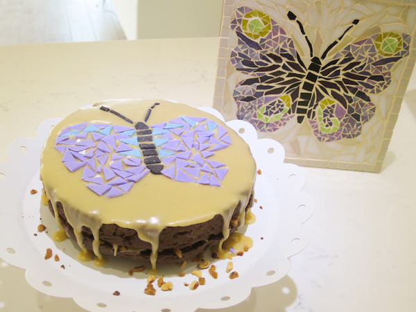Coffee Cake & butterfly mosaic decoration